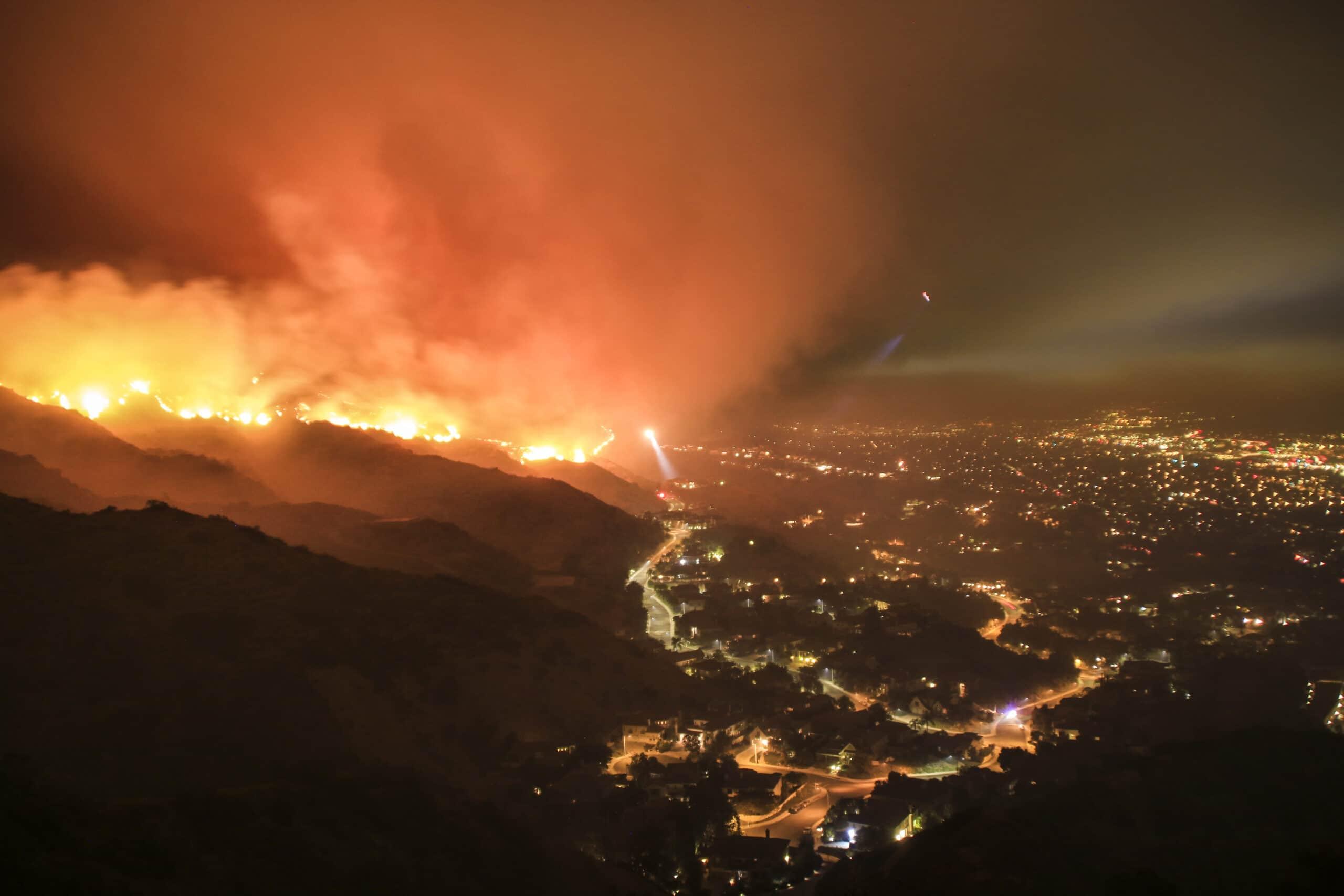 Fire burning on mountainside