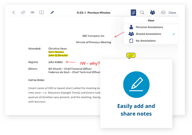 Easily add and share notes with Aprio board portal software