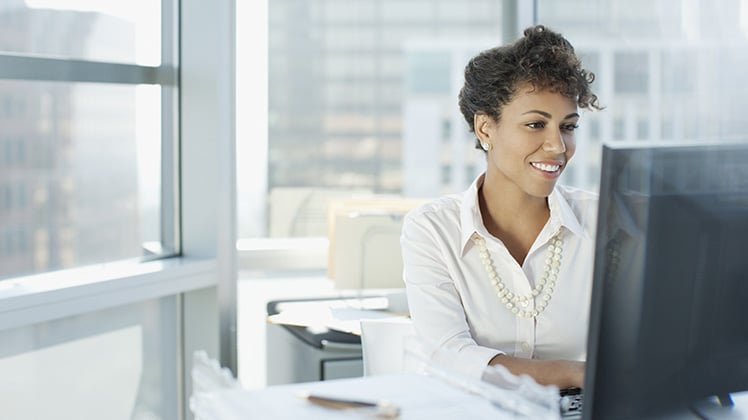 Woman participating in remote board meeting